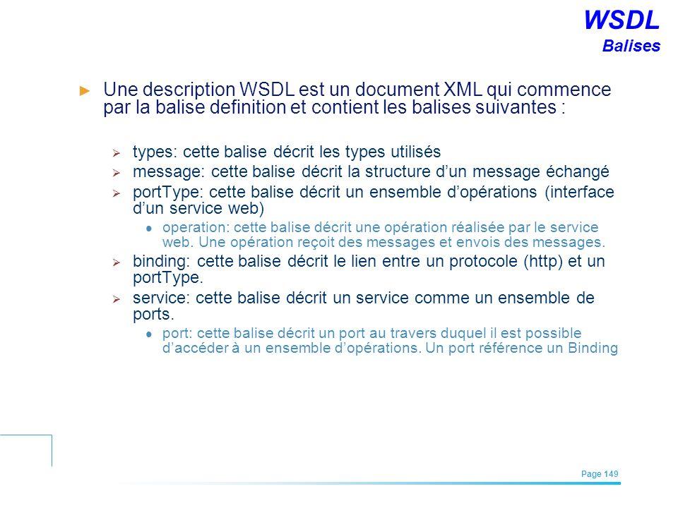 EFREI – M1A | Architecture des Systèmes d'Information | Mai – Juillet 2011| Page 149 WSDL Balises Une description WSDL est un document XML qui commenc