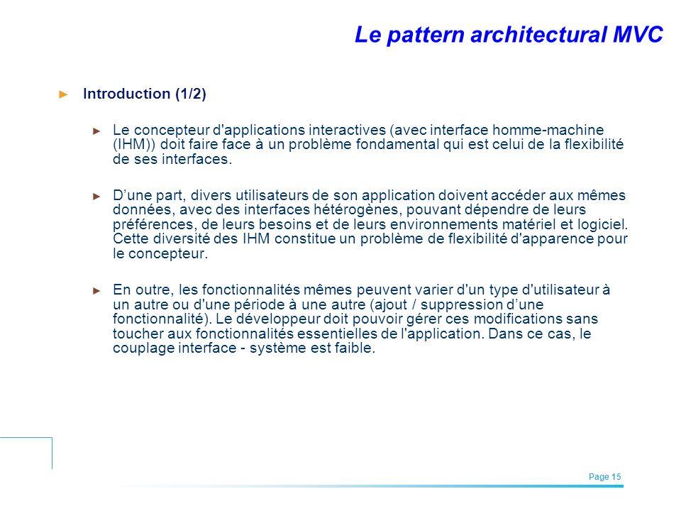 EFREI – M1A | Architecture des Systèmes d'Information | Mai – Juillet 2011| Page 15 Le pattern architectural MVC Introduction (1/2) Le concepteur d'ap