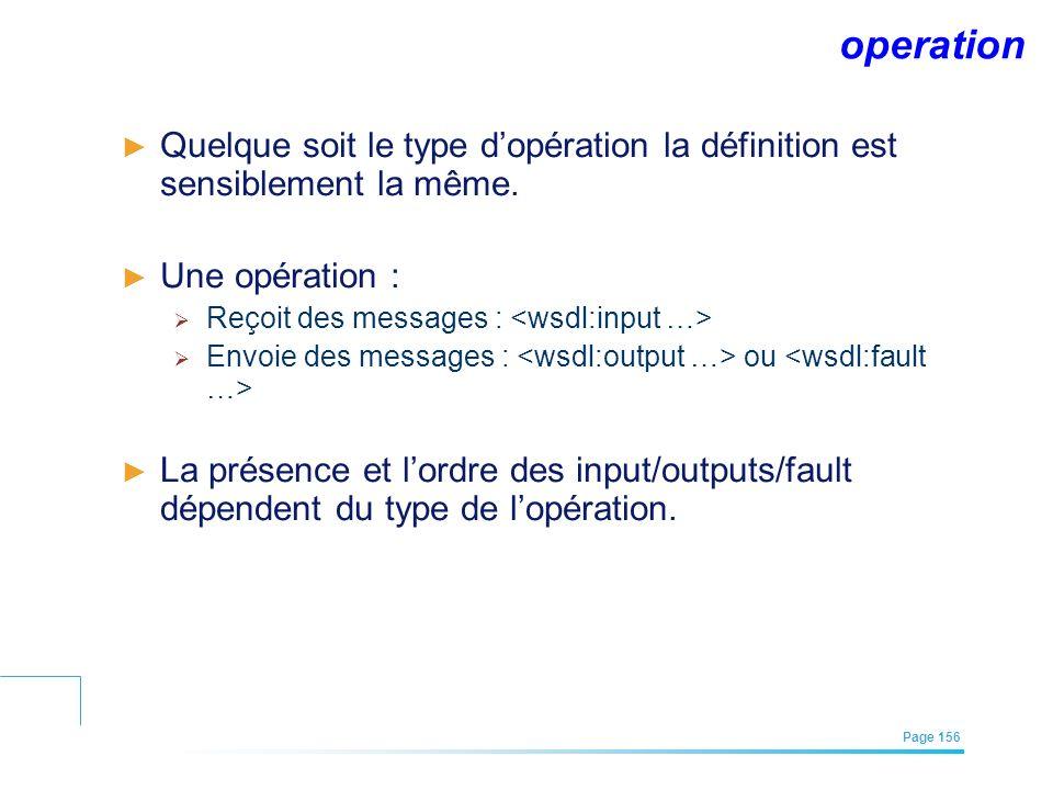 EFREI – M1A | Architecture des Systèmes d'Information | Mai – Juillet 2011| Page 156 operation Quelque soit le type dopération la définition est sensi