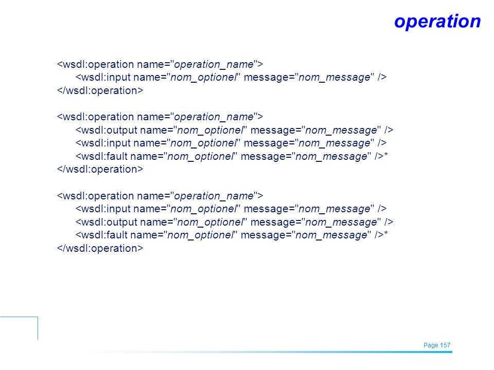 EFREI – M1A | Architecture des Systèmes d'Information | Mai – Juillet 2011| Page 157 operation * *