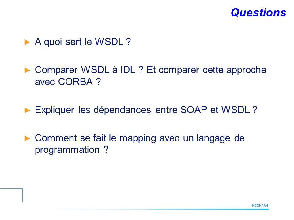 EFREI – M1A | Architecture des Systèmes d'Information | Mai – Juillet 2011| Page 164 Questions A quoi sert le WSDL ? Comparer WSDL à IDL ? Et comparer
