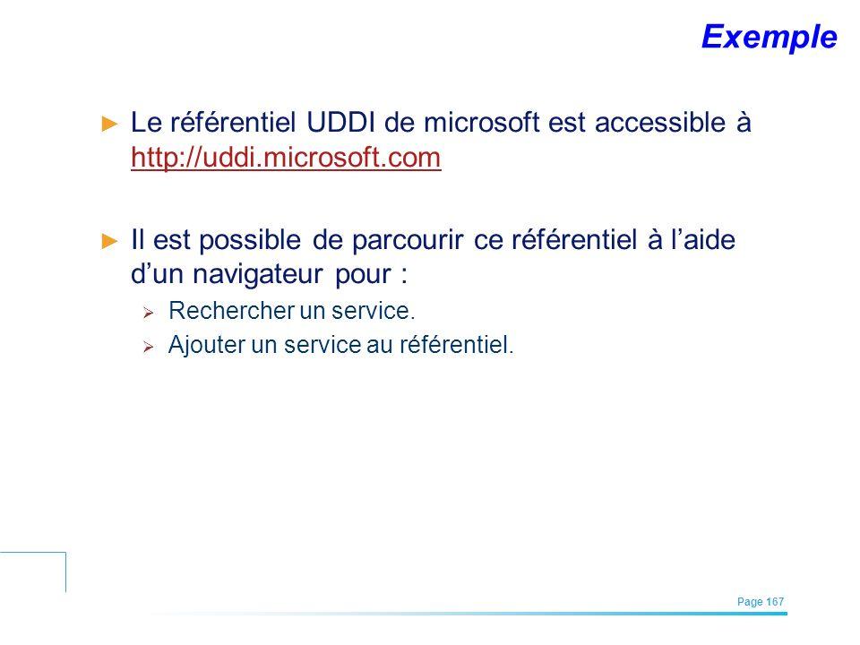 EFREI – M1A | Architecture des Systèmes d'Information | Mai – Juillet 2011| Page 167 Exemple Le référentiel UDDI de microsoft est accessible à http://