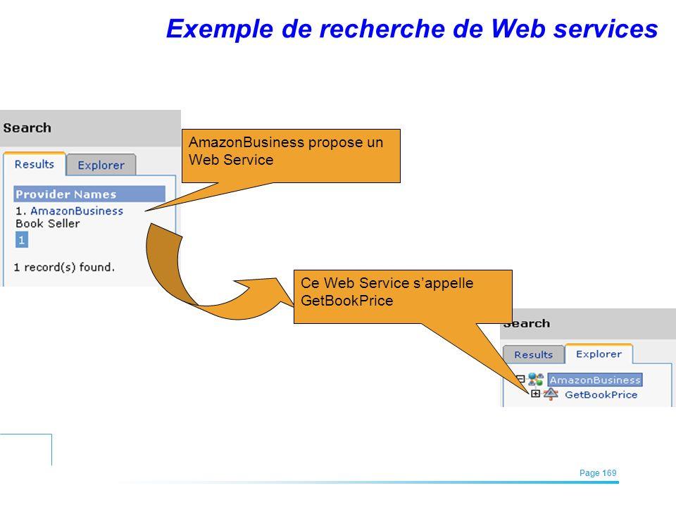 EFREI – M1A | Architecture des Systèmes d'Information | Mai – Juillet 2011| Page 169 Exemple de recherche de Web services AmazonBusiness propose un We