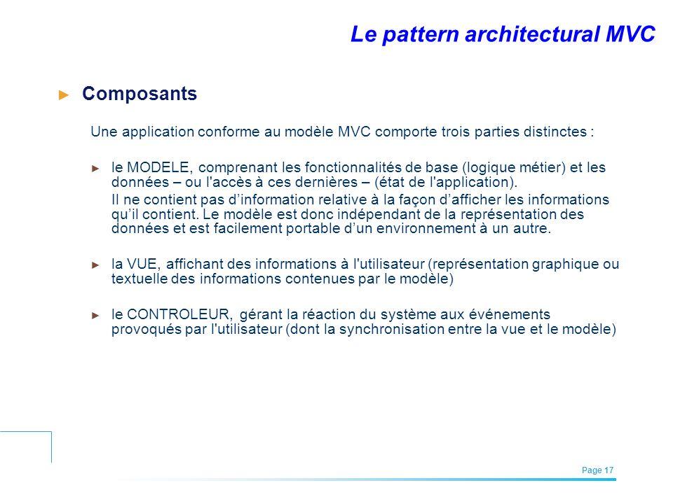 EFREI – M1A | Architecture des Systèmes d'Information | Mai – Juillet 2011| Page 17 Le pattern architectural MVC Composants Une application conforme a
