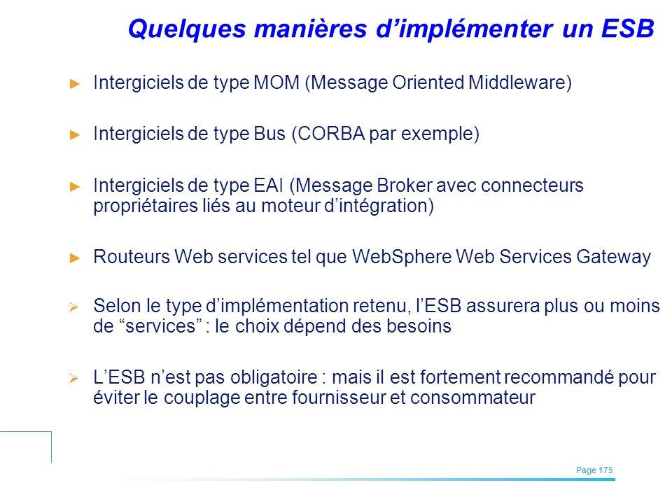 EFREI – M1A | Architecture des Systèmes d'Information | Mai – Juillet 2011| Page 175 Quelques manières dimplémenter un ESB Intergiciels de type MOM (M