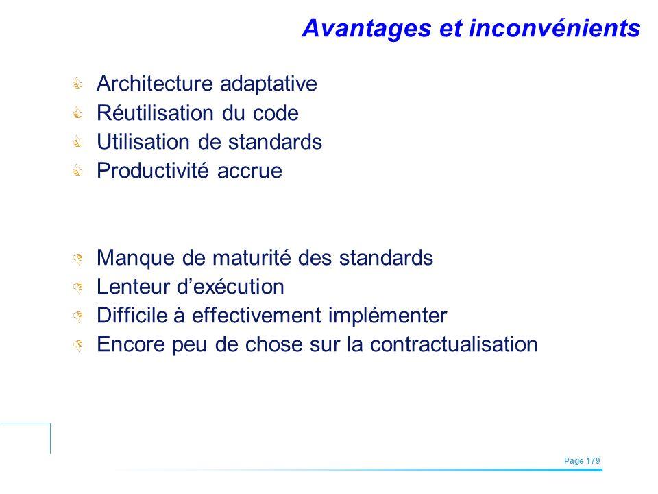 EFREI – M1A | Architecture des Systèmes d'Information | Mai – Juillet 2011| Page 179 Avantages et inconvénients Architecture adaptative Réutilisation