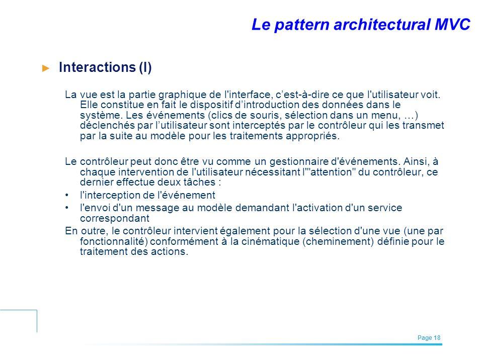 EFREI – M1A | Architecture des Systèmes d'Information | Mai – Juillet 2011| Page 18 Le pattern architectural MVC Interactions (I) La vue est la partie