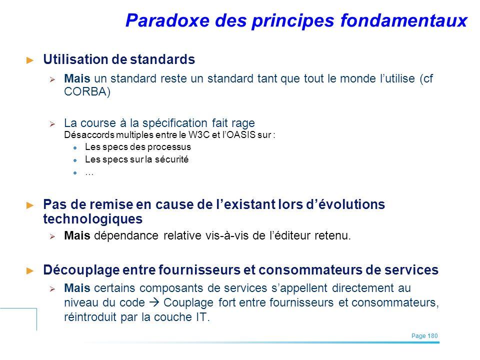 EFREI – M1A | Architecture des Systèmes d'Information | Mai – Juillet 2011| Page 180 Paradoxe des principes fondamentaux Utilisation de standards Mais