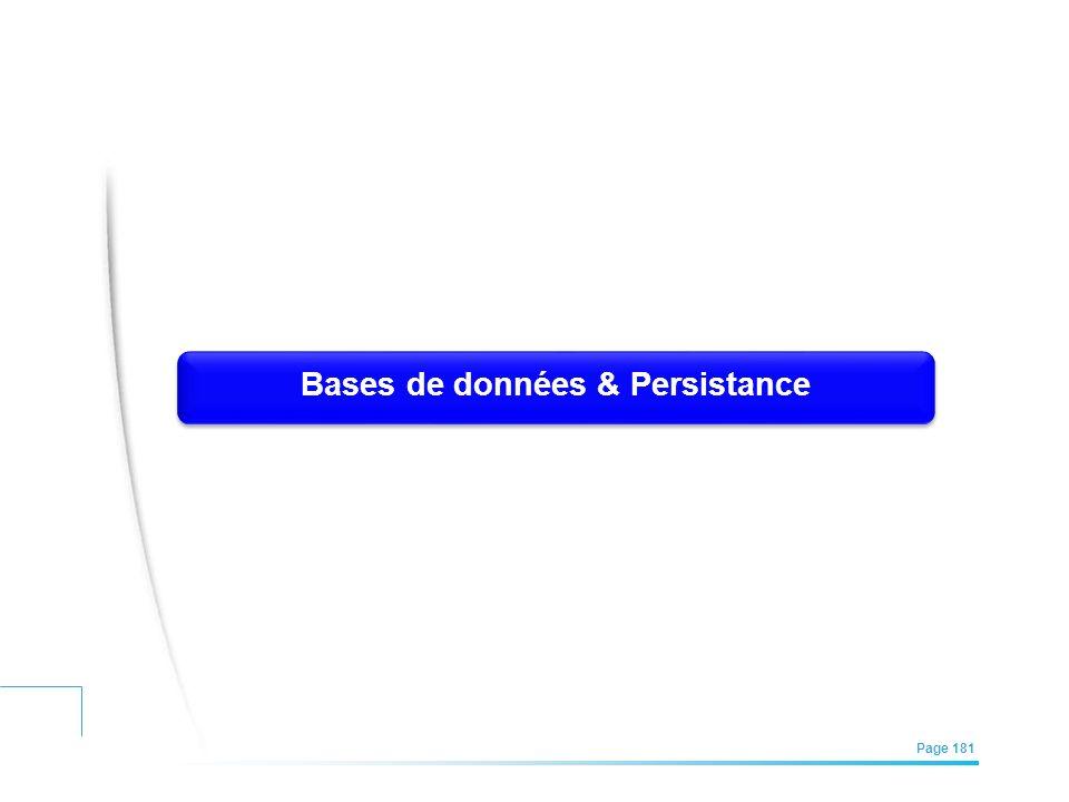EFREI – M1A | Architecture des Systèmes d'Information | Mai – Juillet 2011| Page 181 Bases de données & Persistance