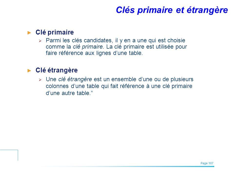 EFREI – M1A | Architecture des Systèmes d'Information | Mai – Juillet 2011| Page 187 Clé primaire Parmi les clés candidates, il y en a une qui est cho