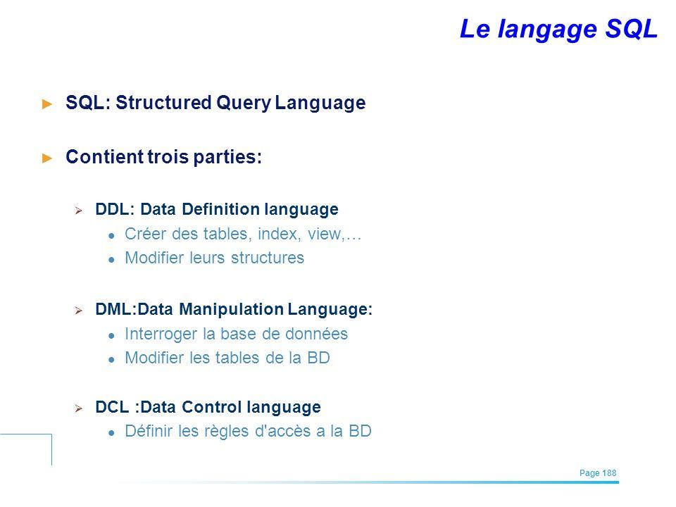 EFREI – M1A | Architecture des Systèmes d'Information | Mai – Juillet 2011| Page 188 Le langage SQL SQL: Structured Query Language Contient trois part