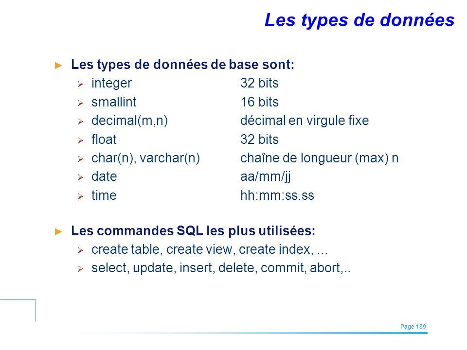 EFREI – M1A | Architecture des Systèmes d'Information | Mai – Juillet 2011| Page 189 Les types de données Les types de données de base sont: integer32