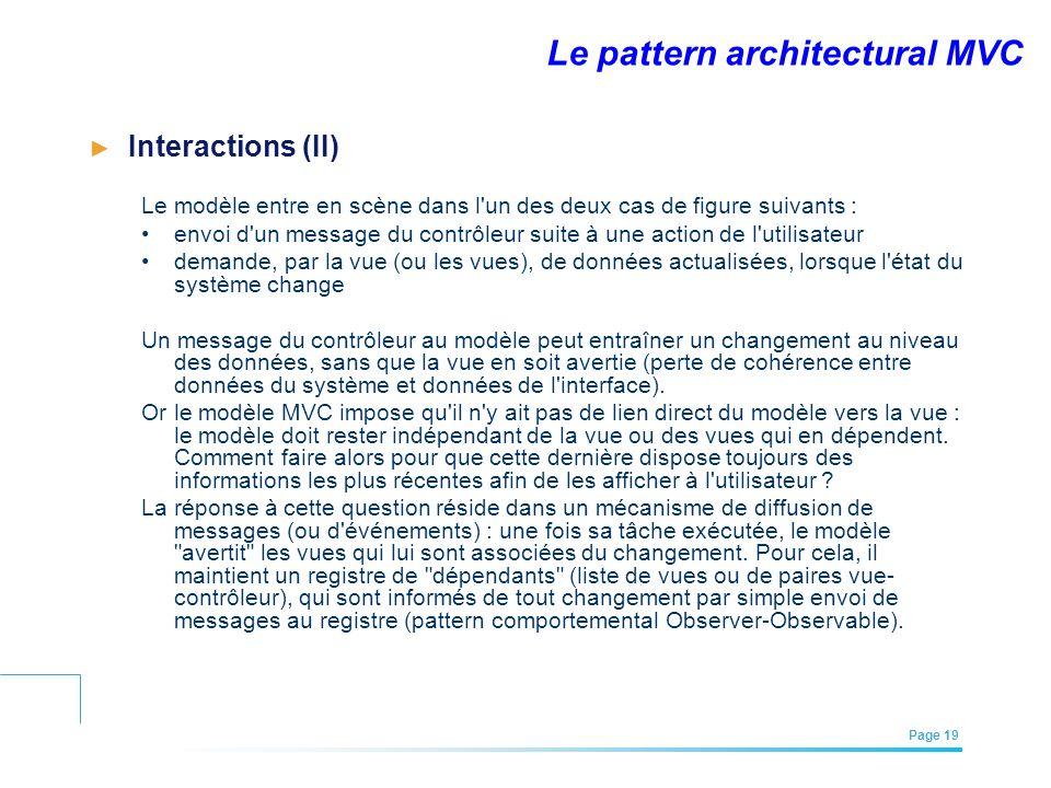 EFREI – M1A | Architecture des Systèmes d'Information | Mai – Juillet 2011| Page 19 Le pattern architectural MVC Interactions (II) Le modèle entre en