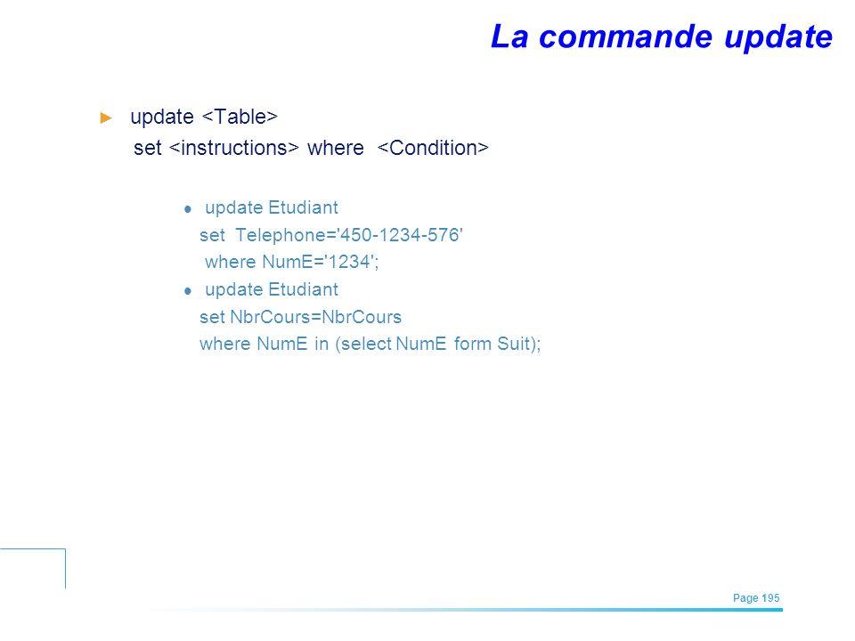 EFREI – M1A | Architecture des Systèmes d'Information | Mai – Juillet 2011| Page 195 La commande update update set where update Etudiant set Telephone