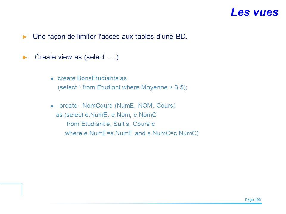 EFREI – M1A | Architecture des Systèmes d'Information | Mai – Juillet 2011| Page 196 Les vues Une façon de limiter l'accès aux tables d'une BD. Create