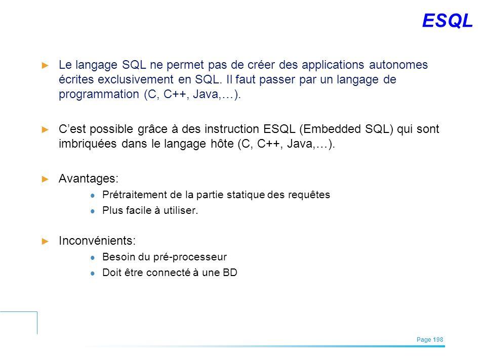 EFREI – M1A | Architecture des Systèmes d'Information | Mai – Juillet 2011| Page 198 ESQL Le langage SQL ne permet pas de créer des applications auton