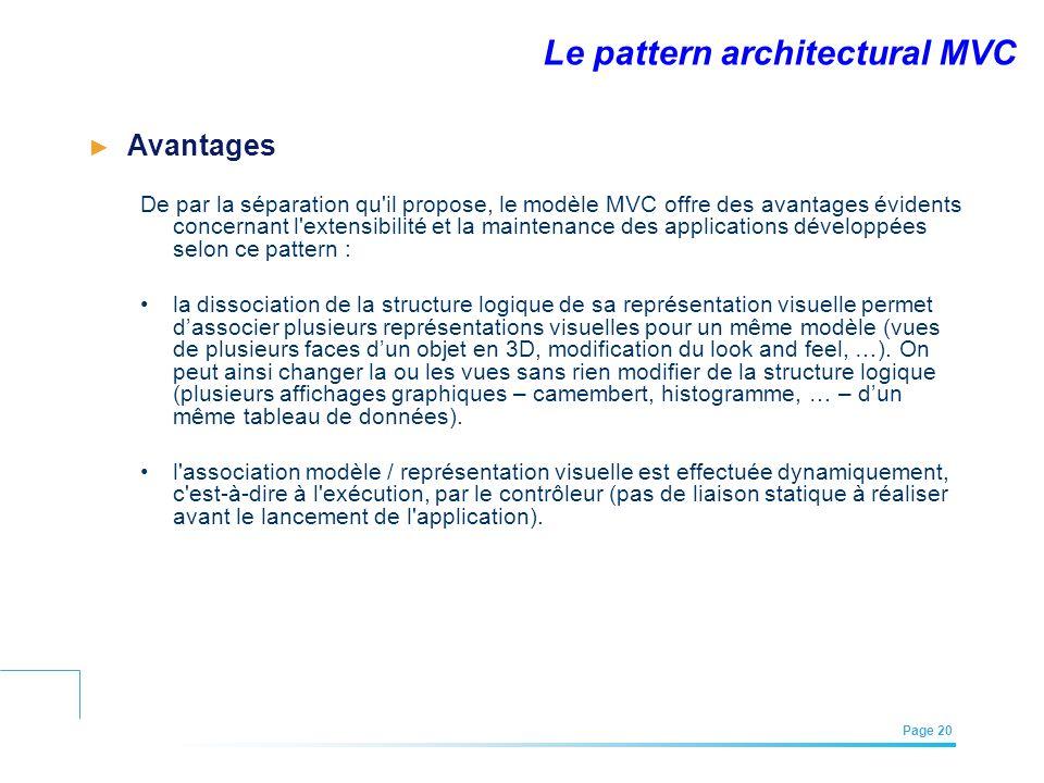 EFREI – M1A | Architecture des Systèmes d'Information | Mai – Juillet 2011| Page 20 Le pattern architectural MVC Avantages De par la séparation qu'il