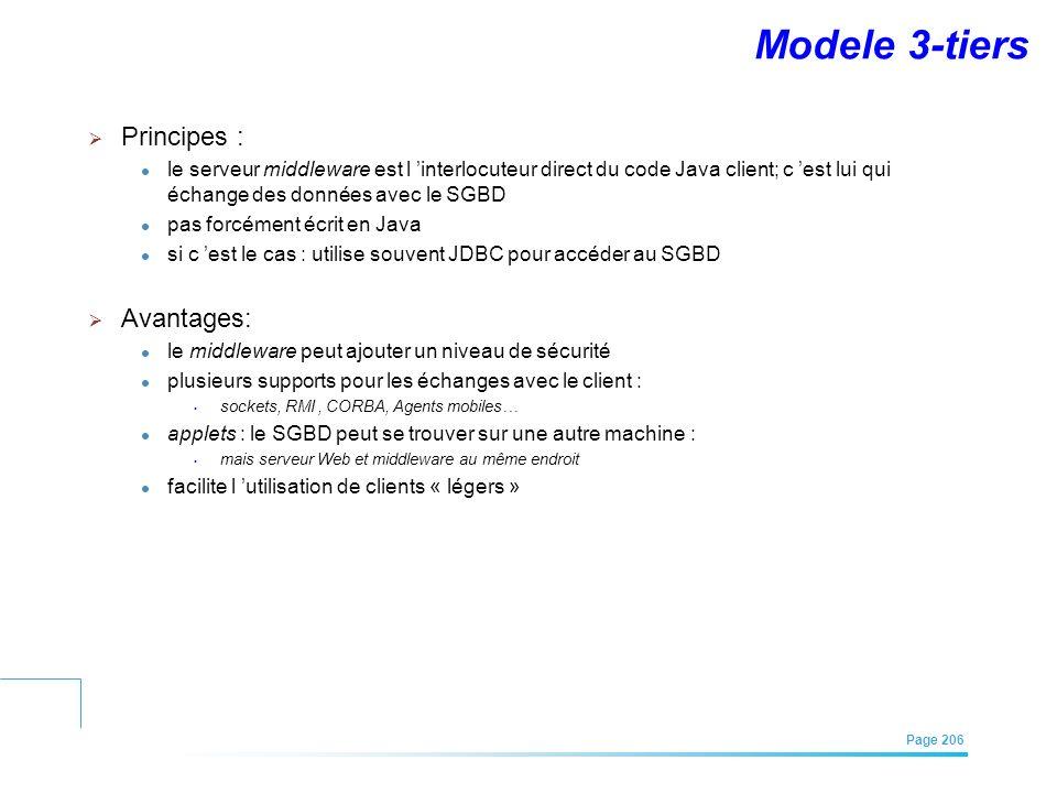 EFREI – M1A | Architecture des Systèmes d'Information | Mai – Juillet 2011| Page 206 Modele 3-tiers Principes : le serveur middleware est l interlocut