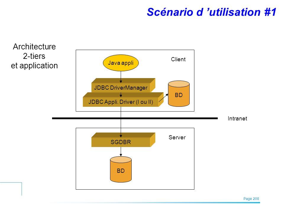 EFREI – M1A | Architecture des Systèmes d'Information | Mai – Juillet 2011| Page 208 Scénario d utilisation #1 Java appli JDBC Appli. Driver (I ou II)