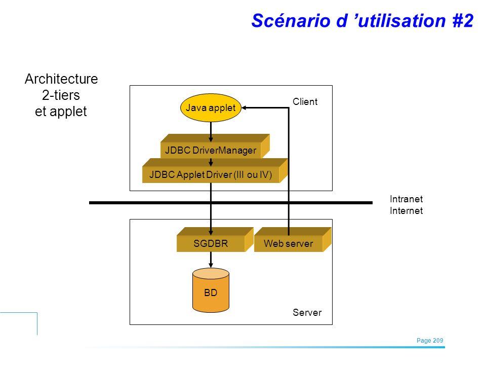 EFREI – M1A | Architecture des Systèmes d'Information | Mai – Juillet 2011| Page 209 Java applet JDBC Applet Driver (III ou IV) JDBC DriverManager BD