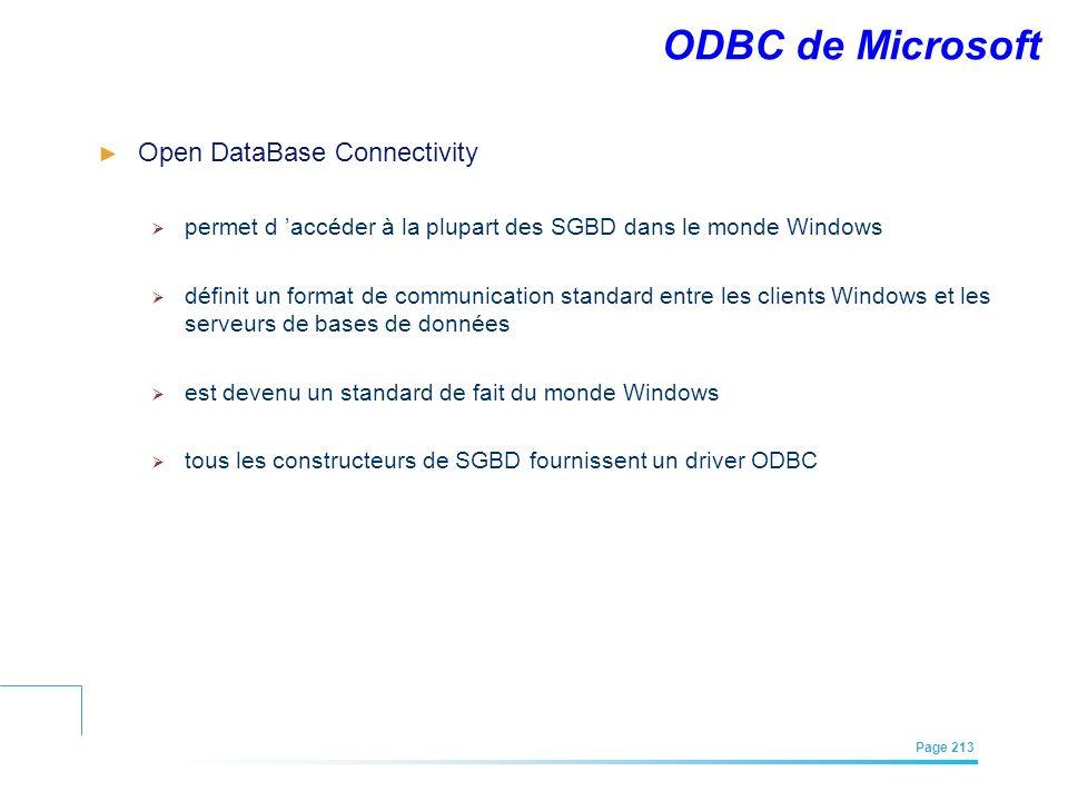 EFREI – M1A | Architecture des Systèmes d'Information | Mai – Juillet 2011| Page 213 ODBC de Microsoft Open DataBase Connectivity permet d accéder à l
