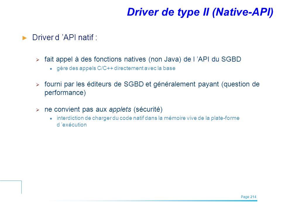 EFREI – M1A | Architecture des Systèmes d'Information | Mai – Juillet 2011| Page 214 Driver de type II (Native-API) Driver d API natif : fait appel à