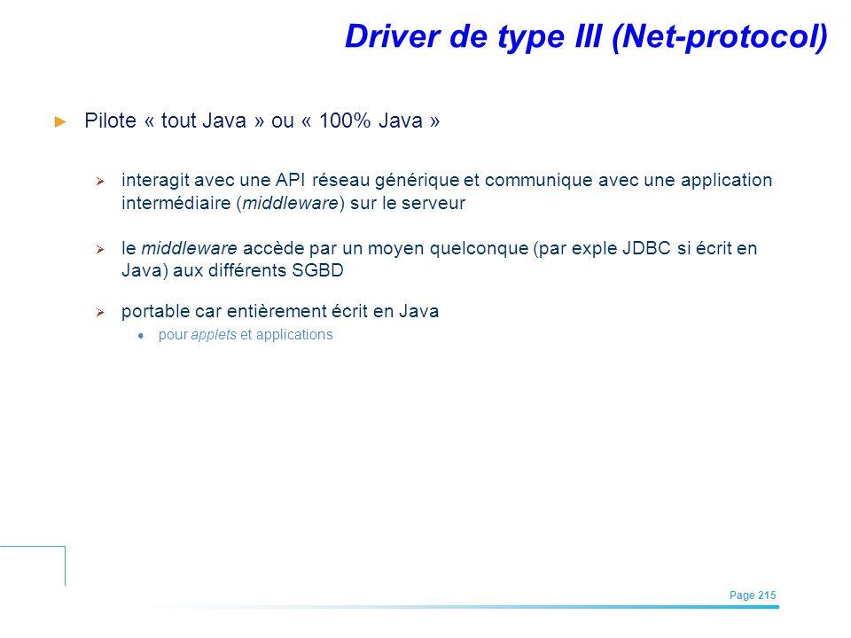 EFREI – M1A | Architecture des Systèmes d'Information | Mai – Juillet 2011| Page 215 Driver de type III (Net-protocol) Pilote « tout Java » ou « 100%
