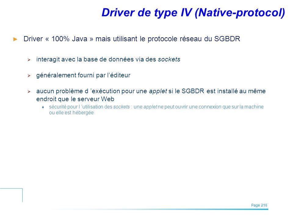 EFREI – M1A | Architecture des Systèmes d'Information | Mai – Juillet 2011| Page 216 Driver de type IV (Native-protocol) Driver « 100% Java » mais uti