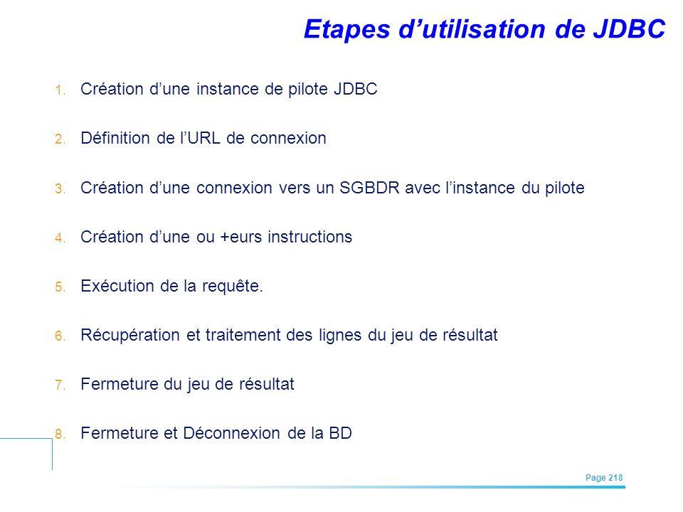 EFREI – M1A | Architecture des Systèmes d'Information | Mai – Juillet 2011| Page 218 Etapes dutilisation de JDBC 1. Création dune instance de pilote J