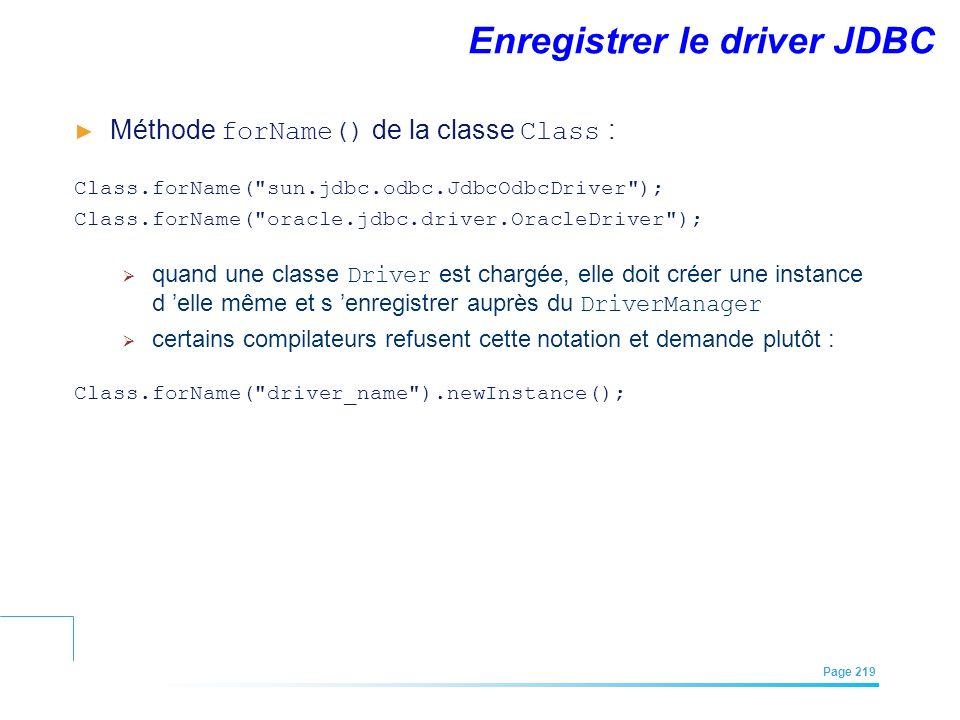 EFREI – M1A | Architecture des Systèmes d'Information | Mai – Juillet 2011| Page 219 Enregistrer le driver JDBC Méthode forName() de la classe Class :