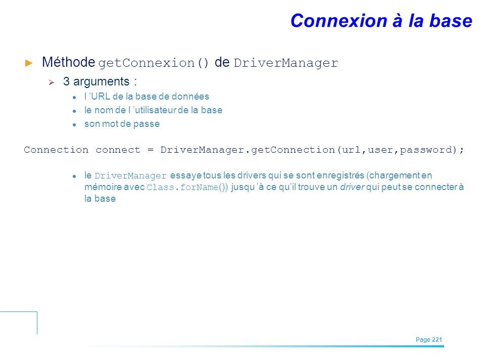 EFREI – M1A | Architecture des Systèmes d'Information | Mai – Juillet 2011| Page 221 Connexion à la base Méthode getConnexion() de DriverManager 3 arg