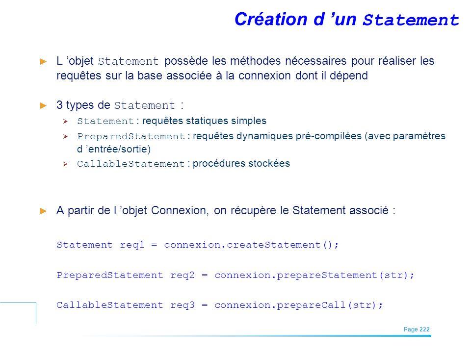 EFREI – M1A | Architecture des Systèmes d'Information | Mai – Juillet 2011| Page 222 Création d un Statement L objet Statement possède les méthodes né