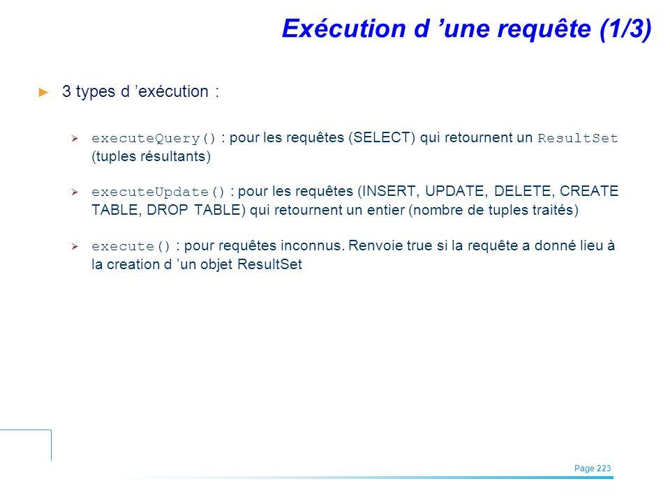 EFREI – M1A | Architecture des Systèmes d'Information | Mai – Juillet 2011| Page 223 Exécution d une requête (1/3) 3 types d exécution : executeQuery(