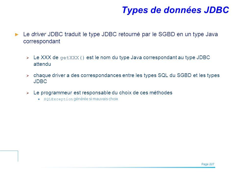 EFREI – M1A | Architecture des Systèmes d'Information | Mai – Juillet 2011| Page 227 Types de données JDBC Le driver JDBC traduit le type JDBC retourn