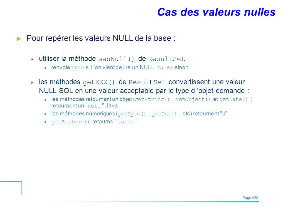 EFREI – M1A | Architecture des Systèmes d'Information | Mai – Juillet 2011| Page 228 Cas des valeurs nulles Pour repérer les valeurs NULL de la base :