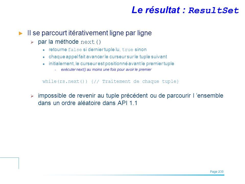 EFREI – M1A | Architecture des Systèmes d'Information | Mai – Juillet 2011| Page 230 Le résultat : ResultSet Il se parcourt itérativement ligne par li