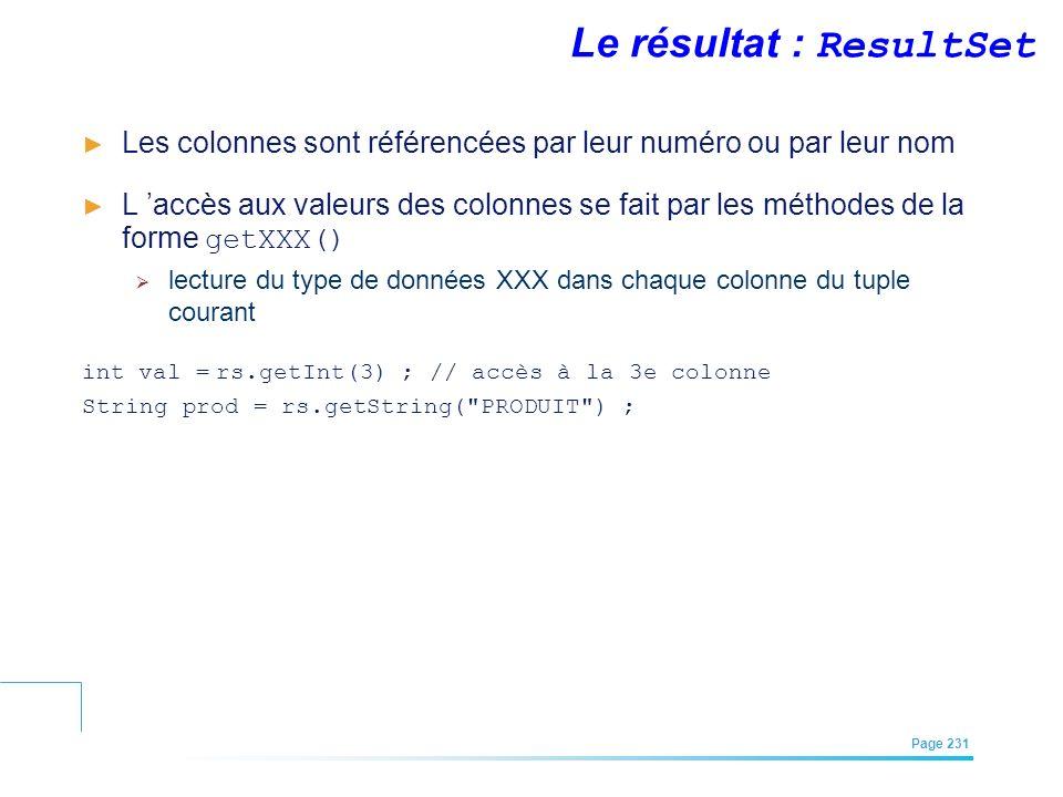 EFREI – M1A | Architecture des Systèmes d'Information | Mai – Juillet 2011| Page 231 Le résultat : ResultSet Les colonnes sont référencées par leur nu