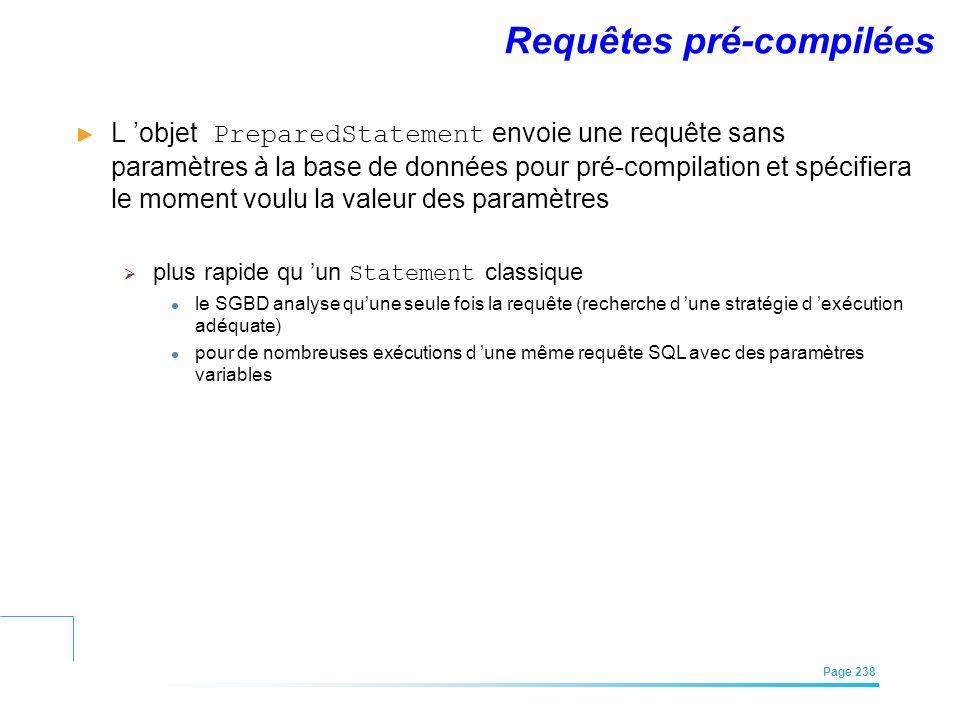 EFREI – M1A | Architecture des Systèmes d'Information | Mai – Juillet 2011| Page 238 Requêtes pré-compilées L objet PreparedStatement envoie une requê