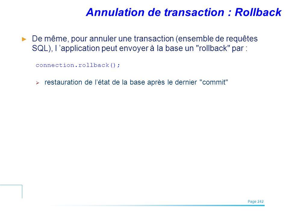 EFREI – M1A | Architecture des Systèmes d'Information | Mai – Juillet 2011| Page 242 Annulation de transaction : Rollback De même, pour annuler une tr