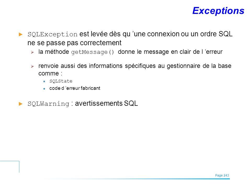 EFREI – M1A | Architecture des Systèmes d'Information | Mai – Juillet 2011| Page 243 Exceptions SQLException est levée dès qu une connexion ou un ordr