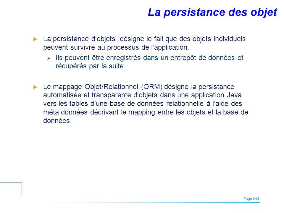 EFREI – M1A | Architecture des Systèmes d'Information | Mai – Juillet 2011| Page 244 La persistance des objet La persistance dobjets désigne le fait q