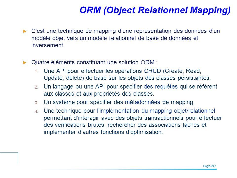 EFREI – M1A | Architecture des Systèmes d'Information | Mai – Juillet 2011| Page 247 ORM (Object Relationnel Mapping) Cest une technique de mapping du