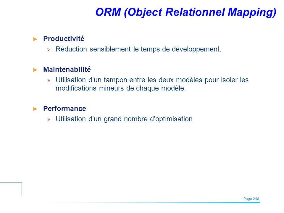 EFREI – M1A | Architecture des Systèmes d'Information | Mai – Juillet 2011| Page 248 ORM (Object Relationnel Mapping) Productivité Réduction sensiblem