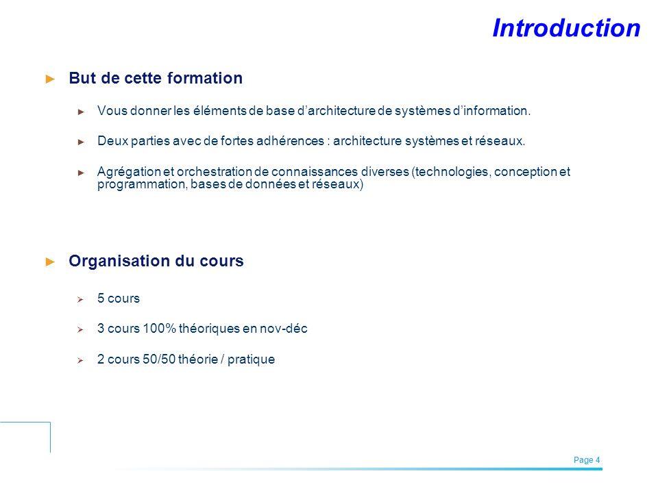 EFREI – M1A | Architecture des Systèmes d'Information | Mai – Juillet 2011| Page 4 Introduction But de cette formation Vous donner les éléments de bas