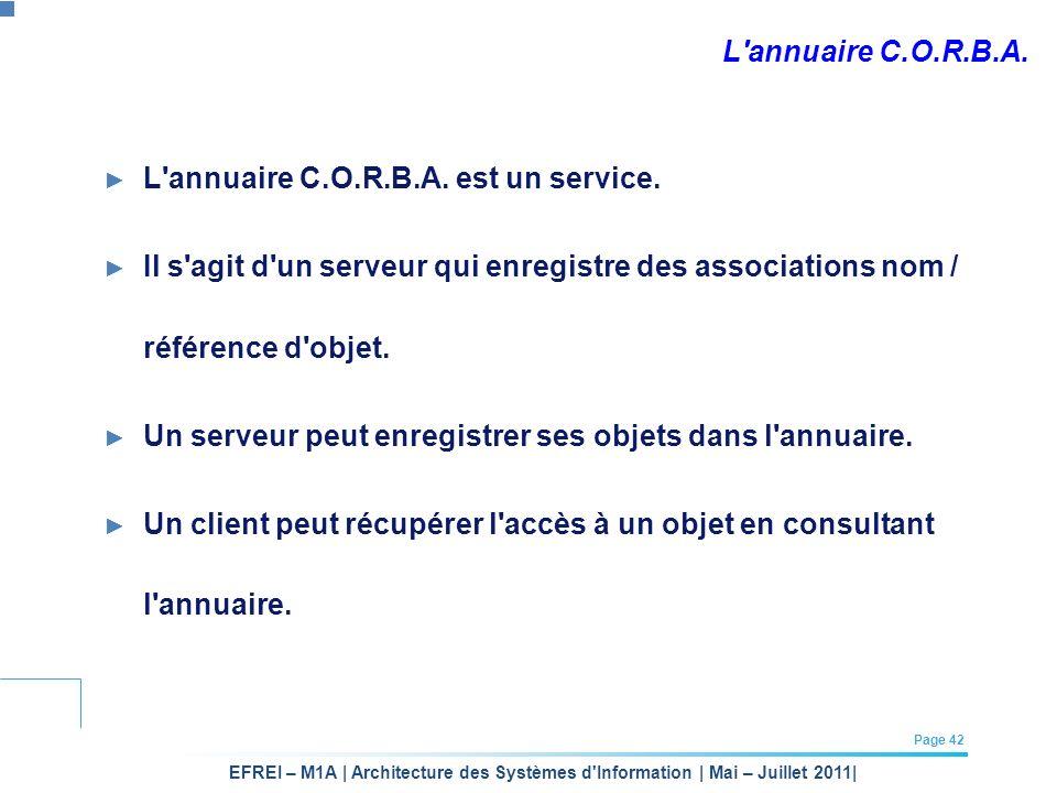 EFREI – M1A | Architecture des Systèmes d'Information | Mai – Juillet 2011| Page 42 L'annuaire C.O.R.B.A. L'annuaire C.O.R.B.A. est un service. Il s'a
