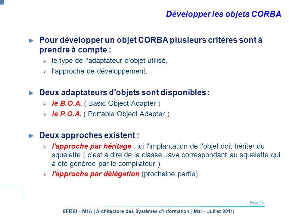EFREI – M1A | Architecture des Systèmes d'Information | Mai – Juillet 2011| Page 45 Développer les objets CORBA Pour développer un objet CORBA plusieu