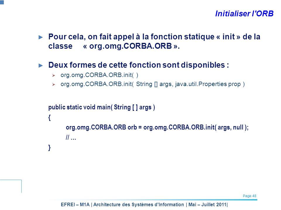 EFREI – M1A | Architecture des Systèmes d'Information | Mai – Juillet 2011| Page 48 Initialiser l'ORB Pour cela, on fait appel à la fonction statique