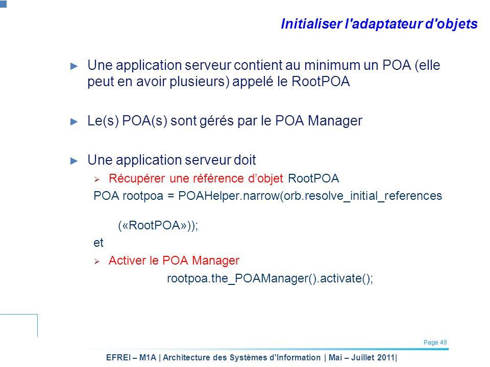 EFREI – M1A | Architecture des Systèmes d'Information | Mai – Juillet 2011| Page 49 Initialiser l'adaptateur d'objets Une application serveur contient
