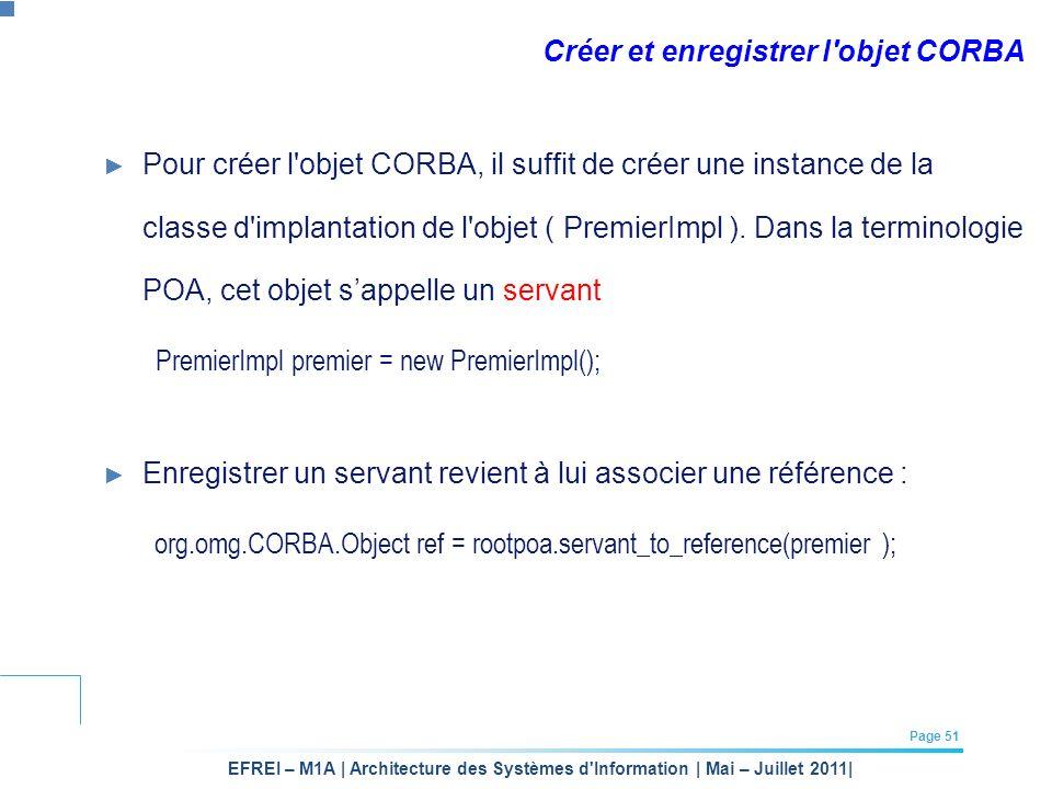 EFREI – M1A | Architecture des Systèmes d'Information | Mai – Juillet 2011| Page 51 Créer et enregistrer l'objet CORBA Pour créer l'objet CORBA, il su
