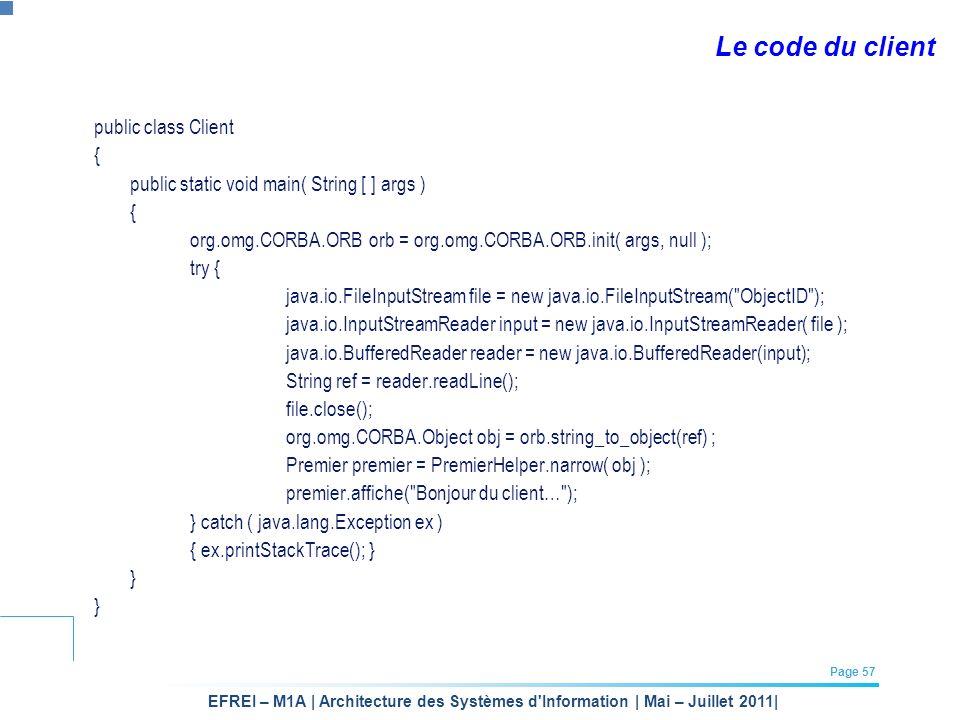 EFREI – M1A | Architecture des Systèmes d'Information | Mai – Juillet 2011| Page 57 Le code du client public class Client { public static void main( S